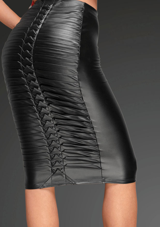 Powerwetlook Skirt With Handmade Pleats