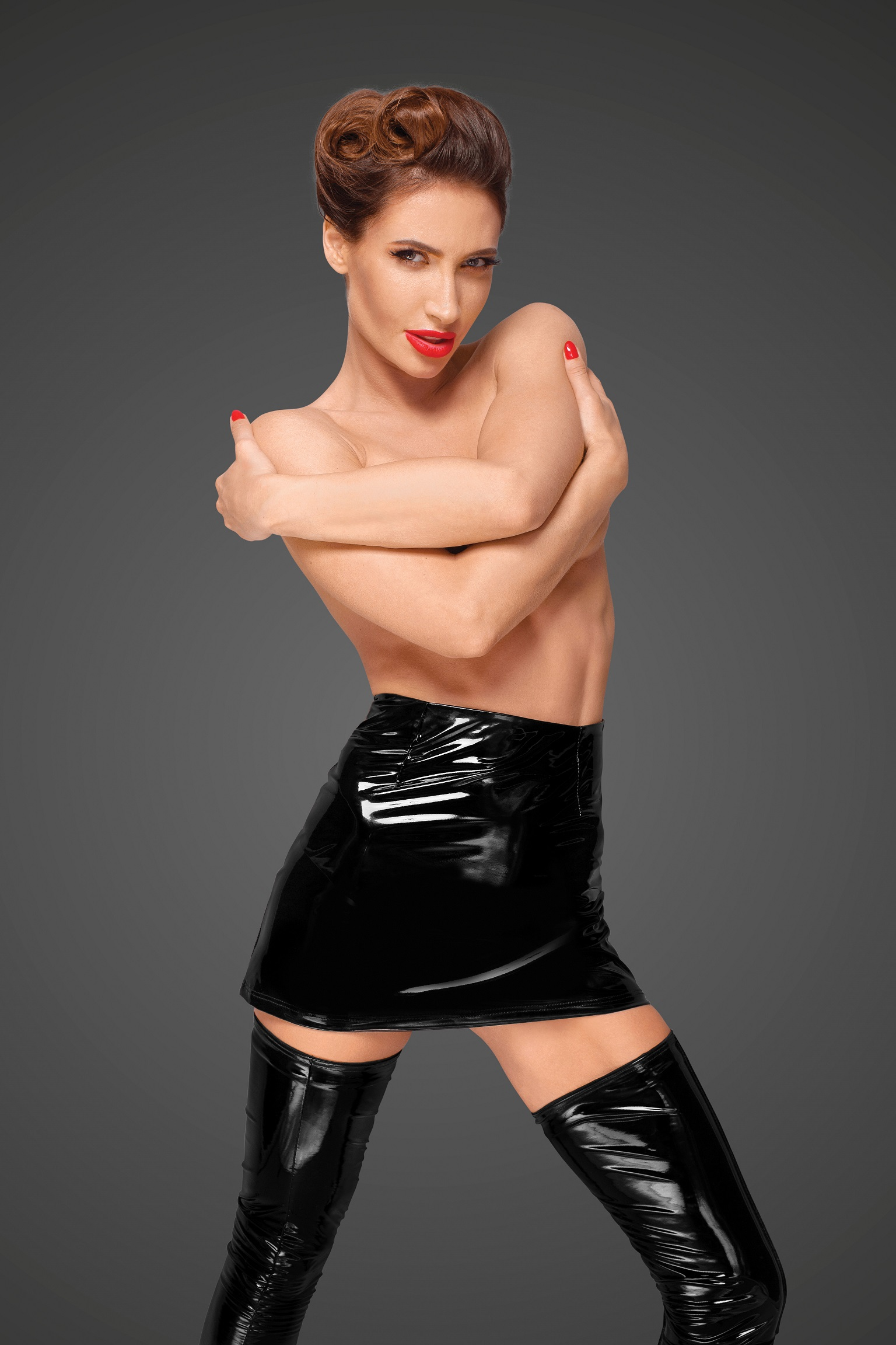 PVC Mini Skirt With Long Hidden Zipper On The Side