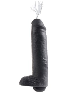 King Cock Squirting with Balls  27cm - Black